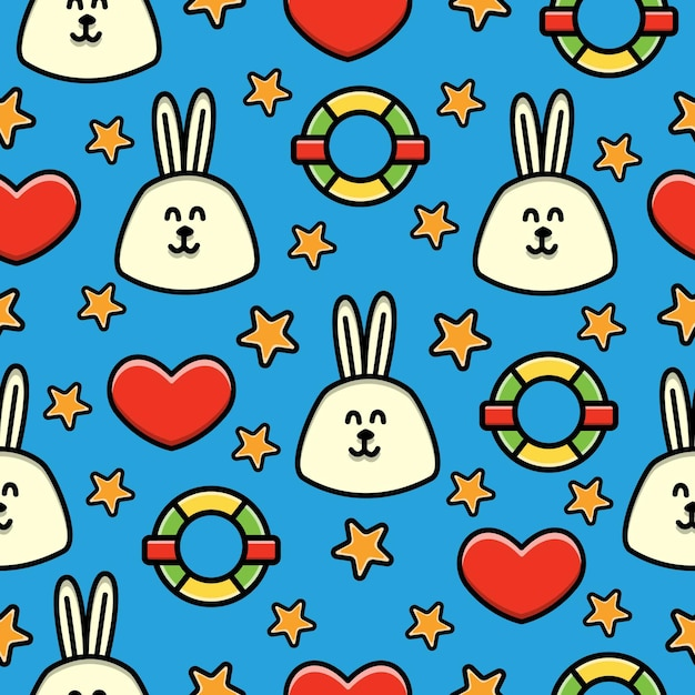 Cartoon rabbit doodle seamless pattern Premium Vector