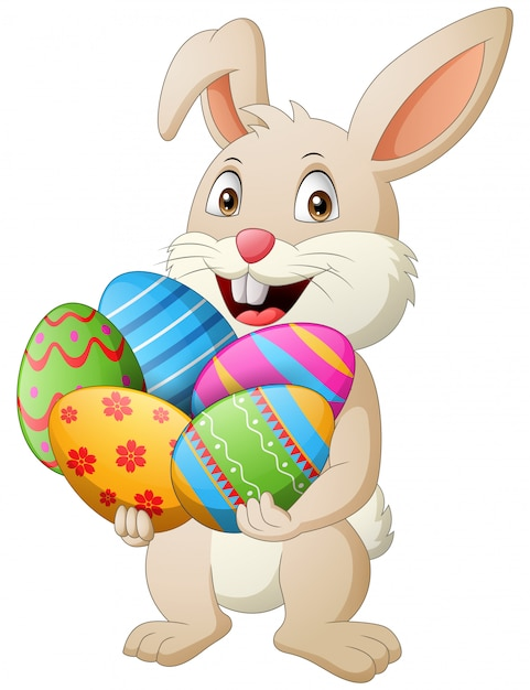 Cartoon rabbit holding easter eggs. illustration Premium Vector