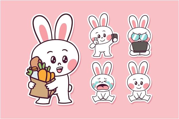 漫画のウサギのイラスト Premiumベクター