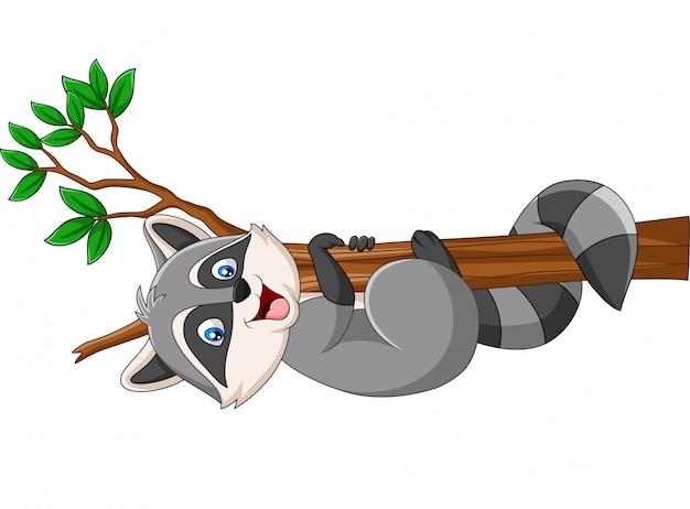 Premium Vector Cartoon Raccoon On The Tree Branch Low poly 3d model of cartoon tree branch. https www freepik com profile preagreement getstarted 4519153
