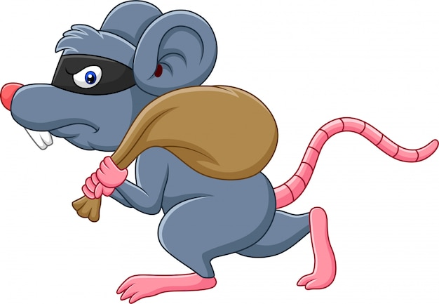 Cartoon rat thief stealing on the bag and running Premium Vector