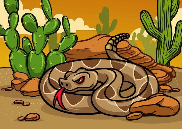 Cartoon rattle snake Premium Vector