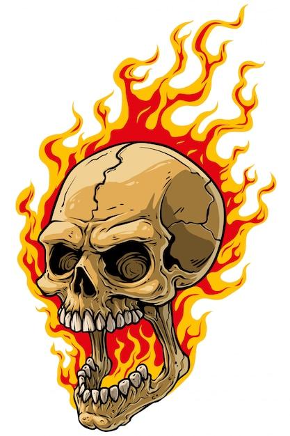 Cartoon realistic scary human skull on fire Premium Vector
