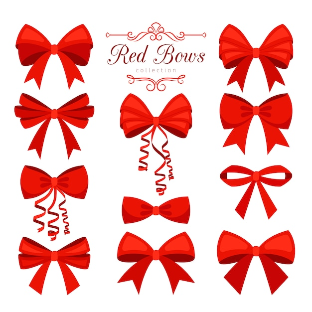 Cartoon red bow set Premium Vector