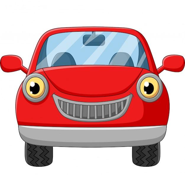 Cartoon red car on white Premium Vector