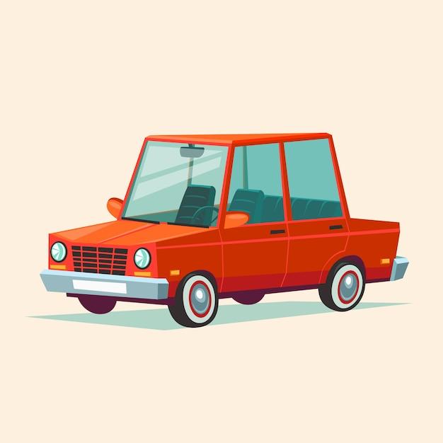 Cartoon red car Premium Vector