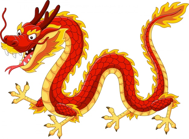 Premium Vector Cartoon Red Chinese Dragon Flying