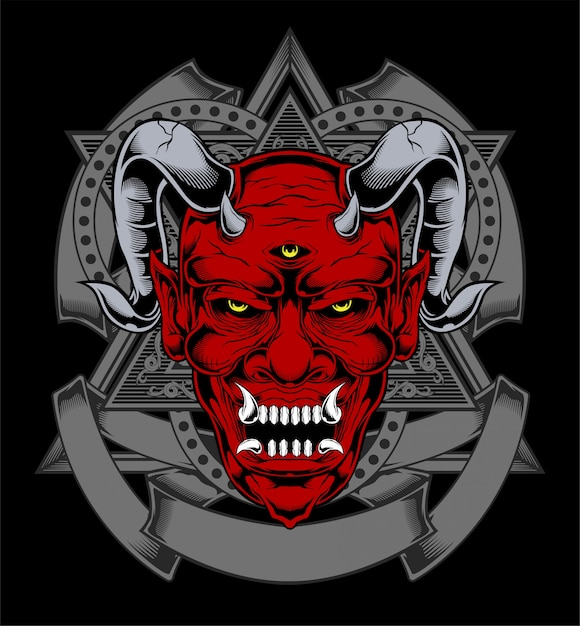 Cartoon red devil satan or lucifer demon face with horns Premium Vector