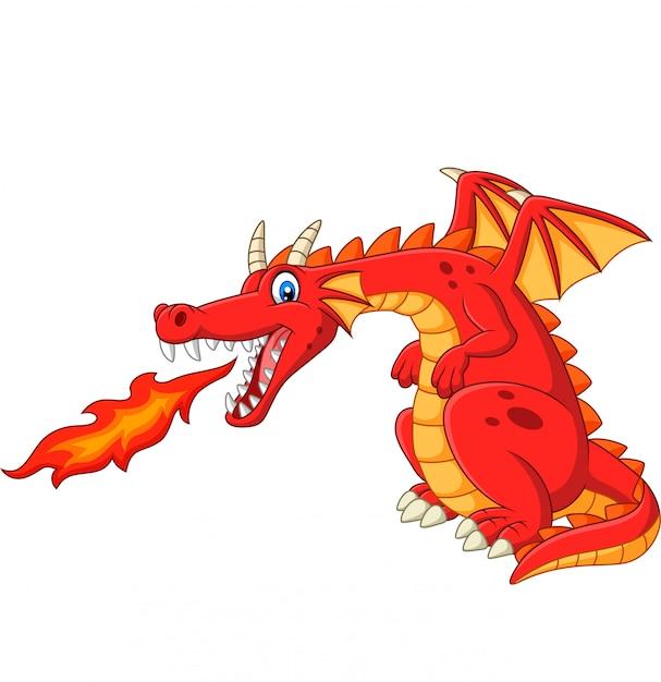 Cartoon red dragon spitting fire Premium Vector