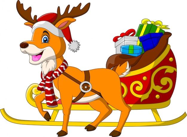 Cartoon reindeer with christmas sled sleigh and presents Premium Vector