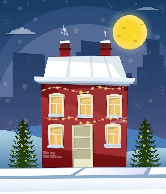漫画レトロなメリークリスマスの夜図市住宅ファサード風景ポスタービンテージサンタクロース鹿。 Premiumベクター