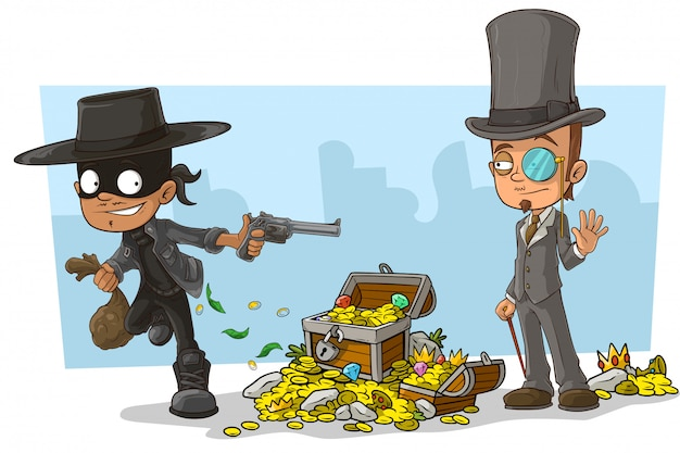 Cartoon robber in mask and intelligent Premium Vector