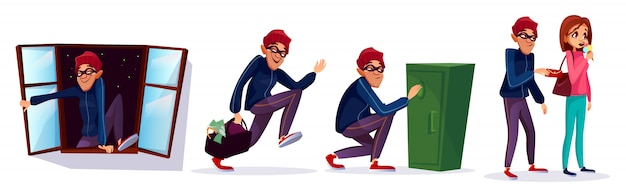 漫画の強盗、泥棒のキャラクターセット。盗まれたお金で走っている泥棒 無料ベクター