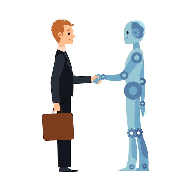 漫画のロボットとビジネスの男の握手-ビジネスマンとアンドロイドサイボーグの笑顔と握手。白い背景のイラスト。 Premiumベクター