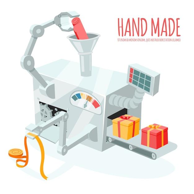 Produzione robotica dei cartoni animati di scatole regalo. confezionamento e confezionamento, automazione e lavorazione a mano Vettore gratuito