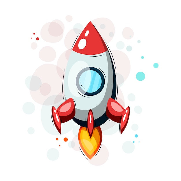 Tシャツやその他の目的のための手描きの漫画ロケット。 Premiumベクター