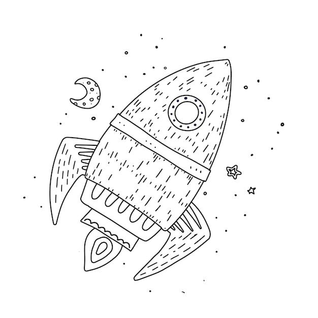 Cartoon rocket hand drawn outline Premium Vector