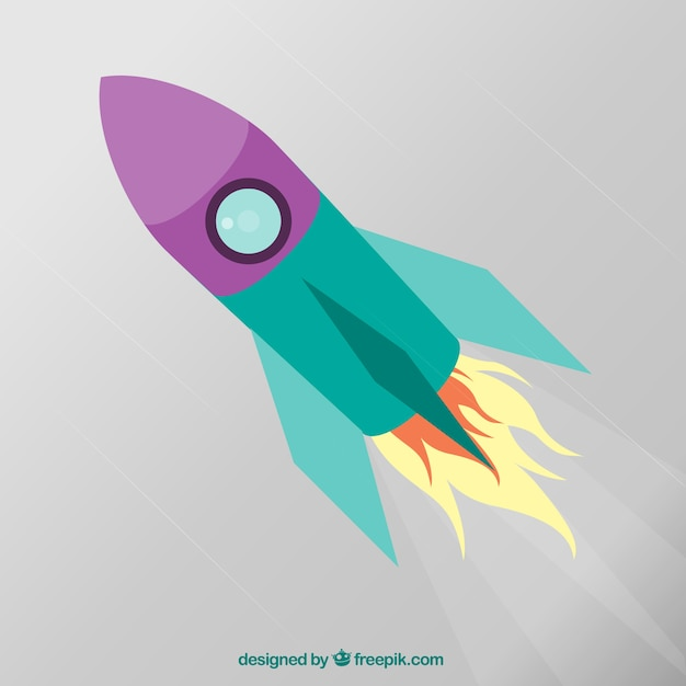 cartoon rocket in flat design vector free download