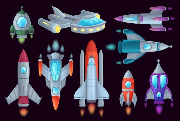 Cartoon rockets. space rocketship, aerospace rocket and spacecraft ship isolated  illustration set Premium Vector