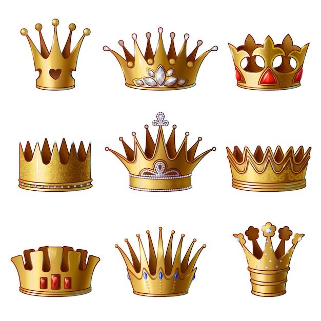 Collezione di corone d'oro reale del fumetto Vettore gratuito