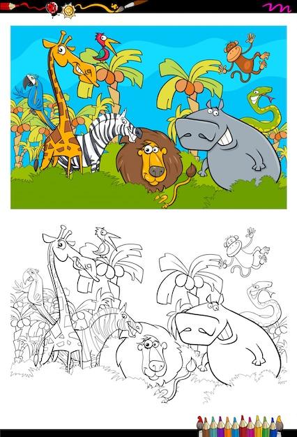 - Premium Vector Cartoon Safari Animal Characters Coloring Book