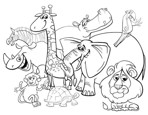 Cartoon Safari Animals Coloring Page Premium Vector