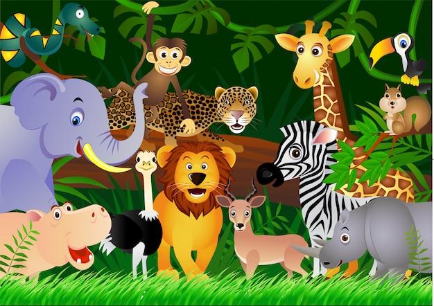 森の背景を持つ漫画サファリ動物 Premiumベクター