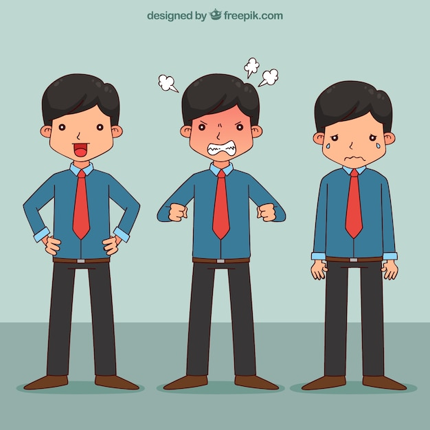 Cartoon salesman in different position