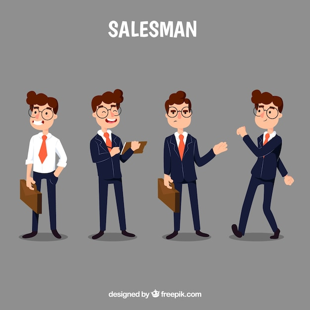 Cartoon salesman in four different\ positions