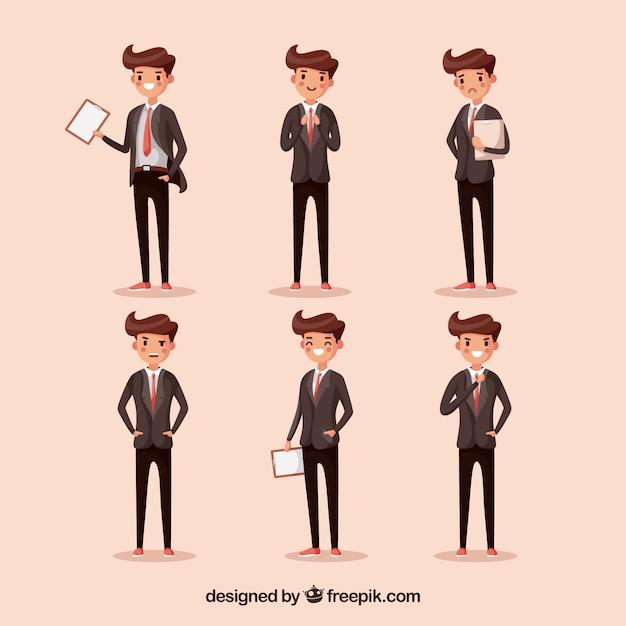 6つの異なるポジションの漫画セールスマン 無料ベクター