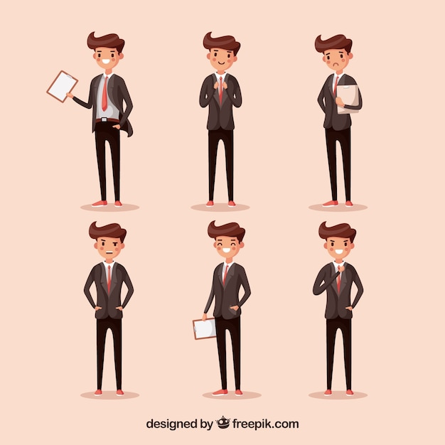 Cartoon salesman in six different positions Free Vector