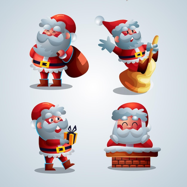 Cartoon santa claus character collection Free Vector