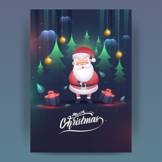 Cartoon santa claus character with gift boxes Premium Vector