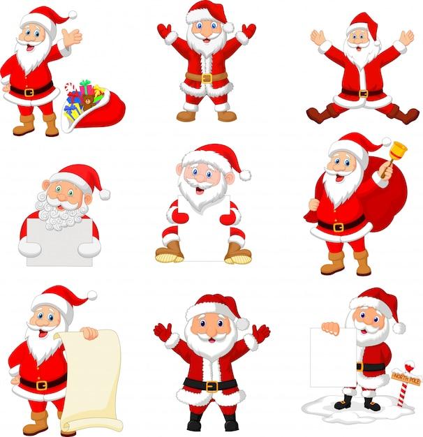 Cartoon santa claus collection set Premium Vector