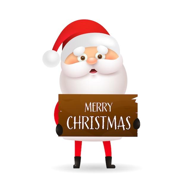 Cartoon santa claus holding merry christmas banner Free Vector