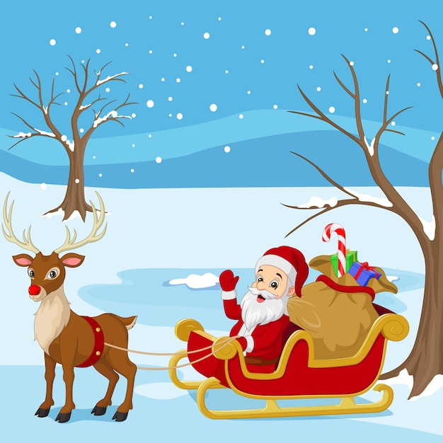 Cartoon santa claus rides in sleigh carrying a sack of gifts with reindeer Premium Vector