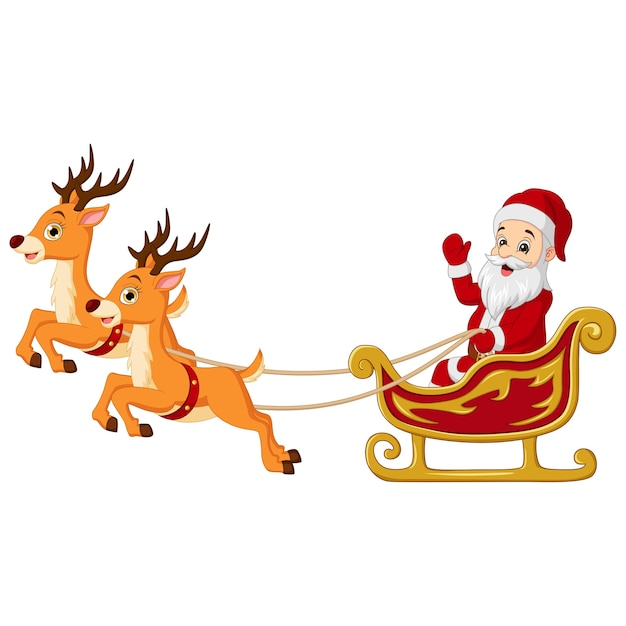 Cartoon santa claus rides in sleigh with reindeer Premium Vector
