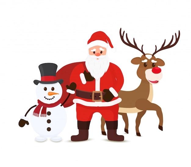 Cartoon santa claus, snowman and reindeers. christmas characters Premium Vector