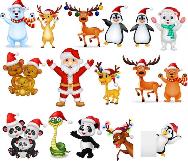 Cartoon santa claus with many animals collection set Premium Vector