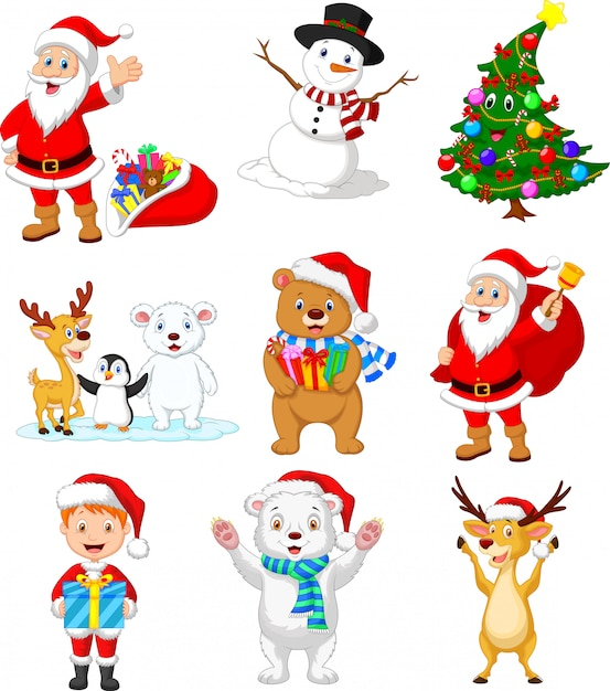 Cartoon santa claus with many animals collection set Premium Vector