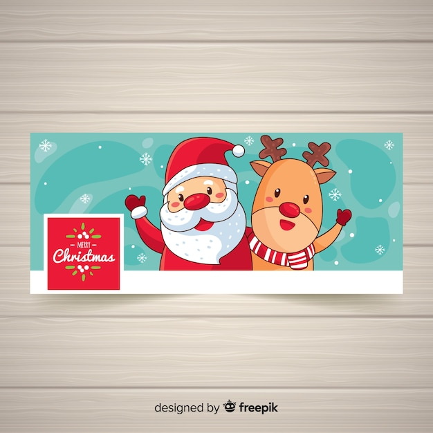 Cartoon santa facebook cover Free Vector