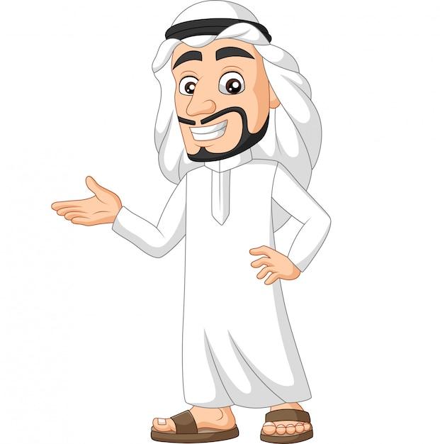Cartoon saudi arab man presenting Premium Vector