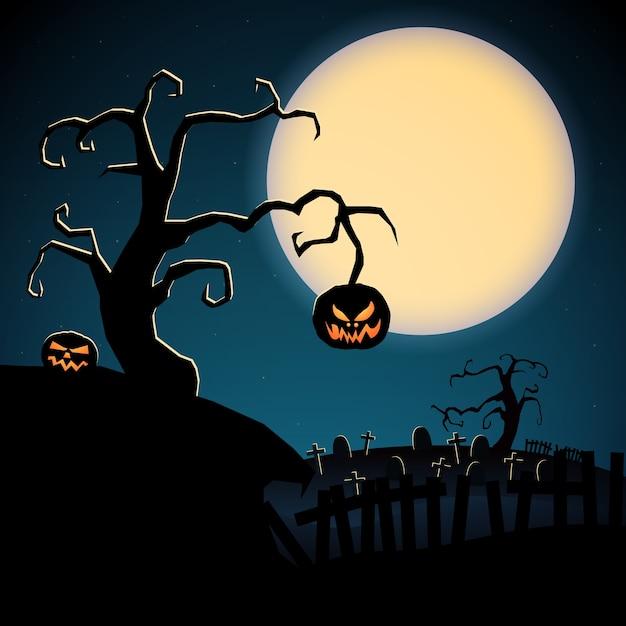 乾燥した木の邪悪なカボチャと月の背景に墓地漫画怖いハッピーハロウィンテンプレート 無料ベクター