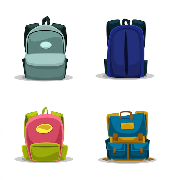 Cartoon school bag isolated template collection set Premium Vector