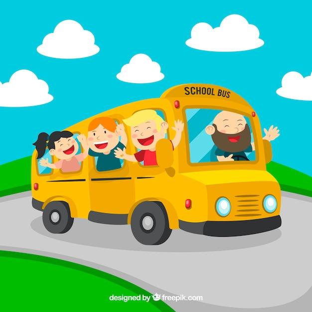 Cartoon school bus with children Free Vector