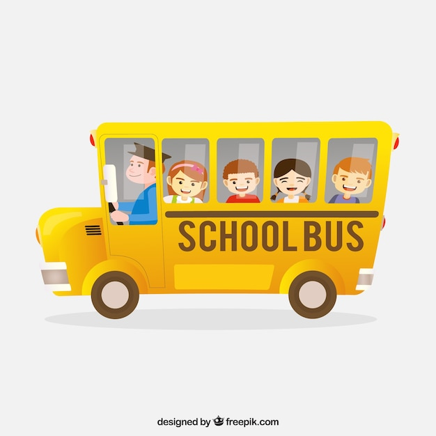 Freepik Cartoon School Bus With Children Vector For Free