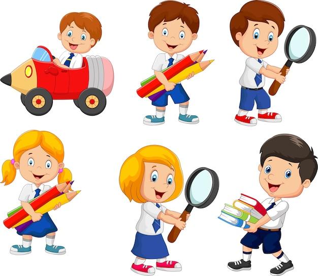 Cartoon school children cartoon collection set Premium Vector