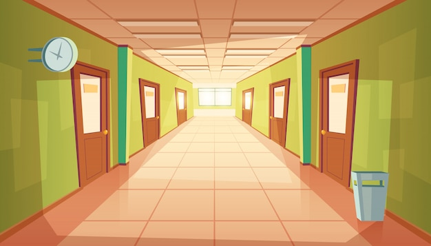 Cartoon school hallway with window and many doors. Free Vector