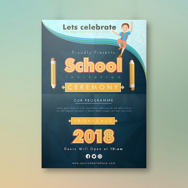 Cartoon school invitation card design Vector Premium Download