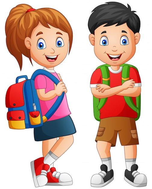 Cartoon school kid boy and girl. illustration Premium Vector